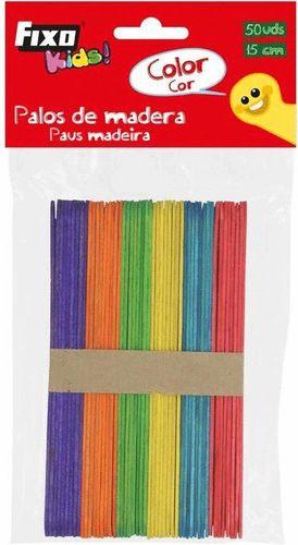 PACK 50 PALOS DE MADERA DE COLORES 15 CM