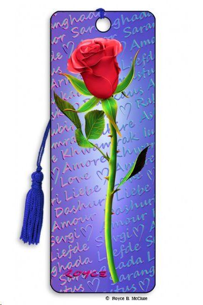 MARCAPAGINAS 3-D PUNTO DE LIBRO RED ROSE ROSA ROJA