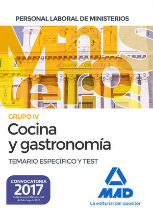 COCINA Y GASTRONOMÍA. GRUPO IV: TEMARIO ESPECÍFICO Y TEST
