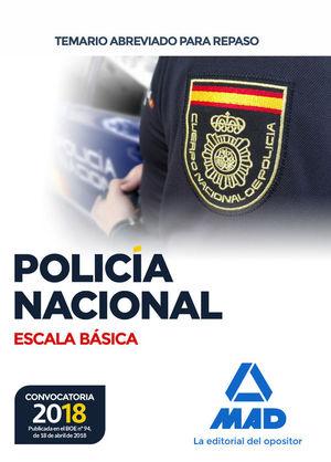 POLICÍA NACIONAL ESCALA BÁSICA. TEMARIO ABREVIADO PARA REPASO