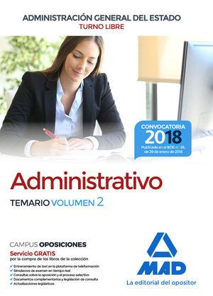 ADMINISTRATIVO DE LA ADMINISTRACIÓN GENERAL DEL ESTADO (TURNO LIBRE). TEMARIO VOL 2