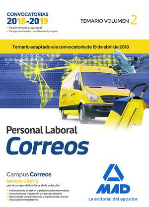 PERSONAL LABORAL DE CORREOS Y TELEGRAFOS. TEMARIO VOLUMEN 2
