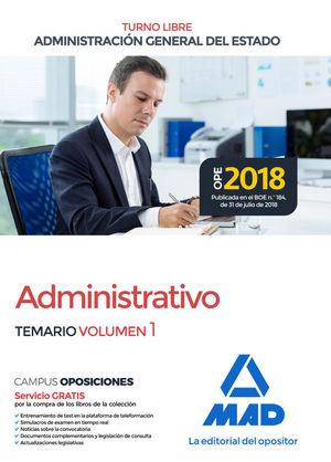 ADMINISTRATIVO DE LA ADMINISTRACIÓN GENERAL DEL ESTADO. TEMARIO VOLUMEN 1 (TURNO LIBRE)