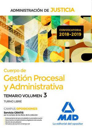 CUERPO DE GESTIÓN PROCESAL Y ADMINISTRATIVA. TEMARIO VOL.3