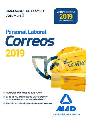 PERSONAL LABORAL DE CORREOS Y TELEGRAFOS. SIMULACROS DE EXAMEN VOLUMEN 2