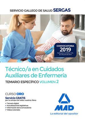 TÉCNICO/A EN CUIDADOS AUXILIARES DE ENFERMERÍA SERGAS. TEMARIO ESPECIFICO VOL. 2