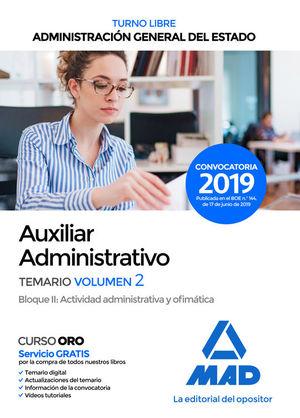 AUXILIAR ADMINISTRATIVO DE ADMINISTRACIÓN GENERAL DEL ESTADO (TURNO LIBRE). TEMARIO 2