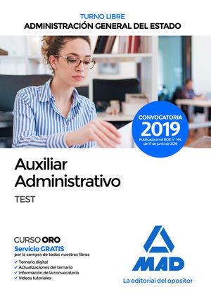 AUXILIAR ADMINISTRATIVO DE ADMINISTRACIÓN GENERAL DEL ESTADO (TURNO LIBRE). TEST
