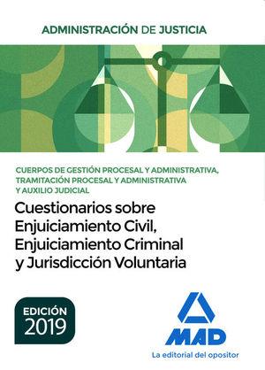ADMINISTRACIÓN DE JUSTICIA. CUERPOS DE GESTION PROCESAL Y ADMTVA, TRAMITACIÓN PROCESAL Y ADMTVA Y AUXILIO JUDICIAL