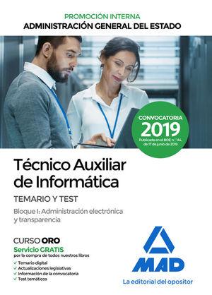 TÉCNICO AUXILIAR DE INFORMÁTICA DE LA ADMINISTRACIÓN GENERAL DEL ESTADO. TEMARIO Y TEST