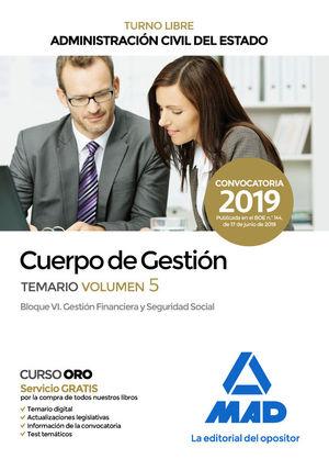 CUERPO DE GESTION DE LA ADMINISTRACION CIVIL DEL ESTADO. TEMARIO VOLUMEN 5