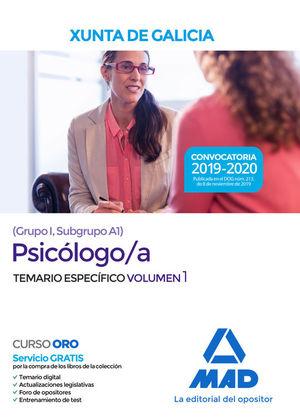 PSICÓLOGO/A DE LA XUNTA DE GALICIA. TEMARIO ESPECÍFICO VOL. 1