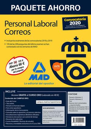 PAQUETE AHORRO PERSONAL LABORAL CORREOS 2020. AHORRA 68 € (INCLUYE TEMARIOS 1 Y
