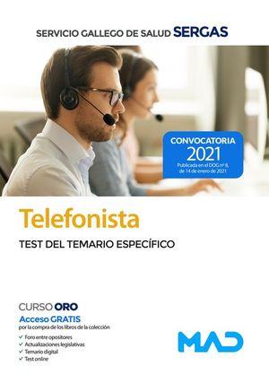 TELEFONISTA.TEST DEL TEMARIO ESPECIFICO SERGAS