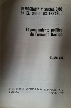 DEMOCRACIA Y SOCIALISMO EN EL SIGLO XIX ESPAÑOL
