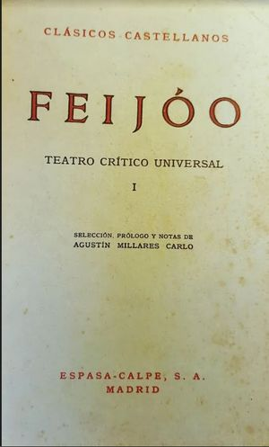 TEATRO CRÍTICO UNIVERSAL  - 1- FEIJOO