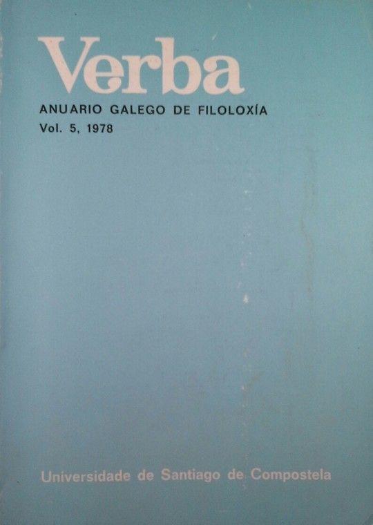 VERBA ANUARIO GALLEGO DE FILOLOGÍA VOL 5 1978