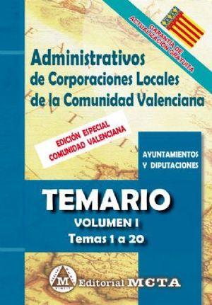 ADMINISTRATIVOS DE CORPORACIONES LOCALES TEMARIO VOL.I. TEMAS 1 A 29