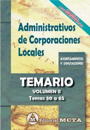 ADMINISTRATIVOS DE CORPORACIONES LOCALES TEMARIO VOLUMEN II TEMAS 30 A 65