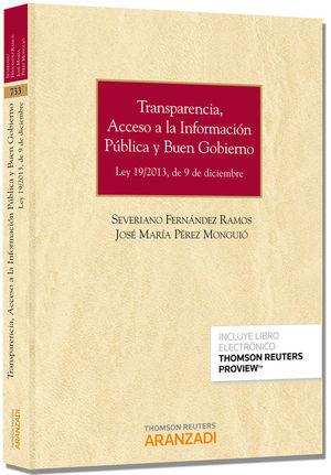 TRANSPARENCIA, ACCESO A LA INFORMACIÓN PÚBLICA Y BUEN GOBIERNO (PAPEL + E-BOOK)