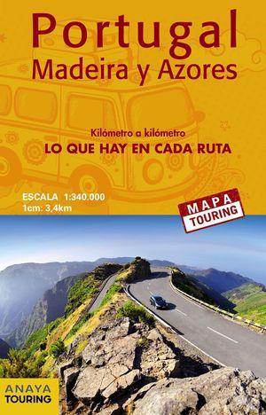 MAPA DE CARRETERAS DE PORTUGAL, MADEIRA Y AZORES