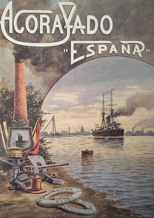 ACORAZADO ESPAÑA. FOLLETO CONMEMORATIVO DE LA BOTADURA. FERROL 5 DE FEBRERO DE 1912