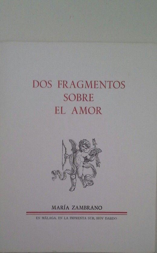 DOS FRAGMENTOS SOBRE EL AMOR