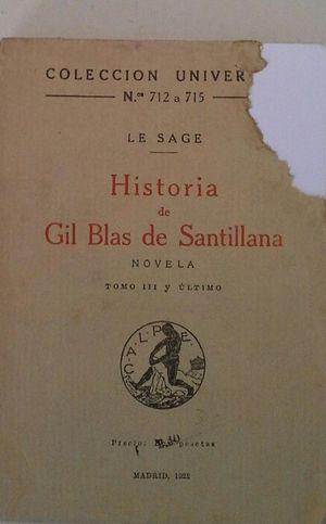HISTORIA DE GIL BLAS DE SANTILLANA - TOMO III Y ÚLTIMO