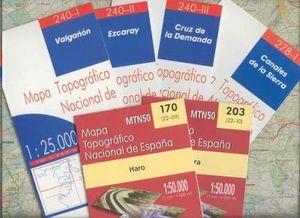 LOTE DE  34 MAPAS IGN 1/25.000 CARTOGRAFÍA CONJUNTO 34 MAPAS