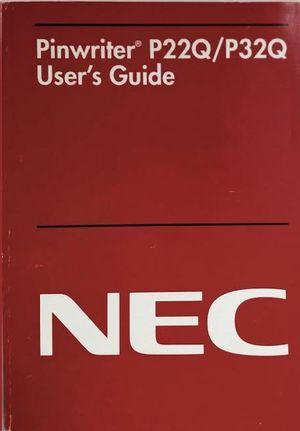 PINWRITER P22Q/P32Q. USER'S GUIDE. NEC.