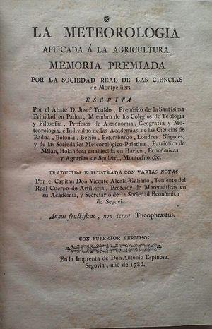 LA METEOROLOGÍA APLICADA A LA AGRICULTURA - MEMORIA PREMIADA POR LA SOCIEDAD REAL DE LAS CIENCIAS