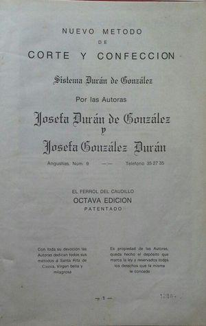 NUEVO MÉTODO DE DE CORTE Y CONFECCIÓN - SISTEMA DURÁN DE GONZÁLEZ