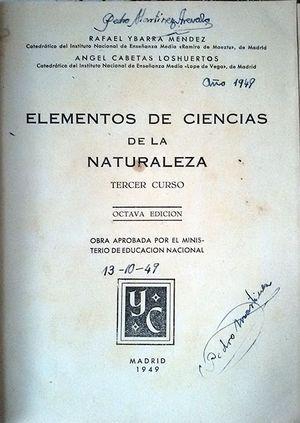 ELEMENTOS DE CIENCIAS DE LA NATURALEZA