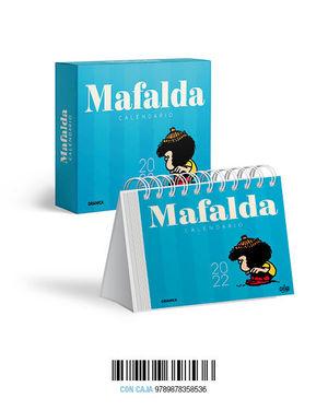 MAFALDA 2022, CALENDARIO DE ESCRITORIO AZUL CLARO CON CAJA